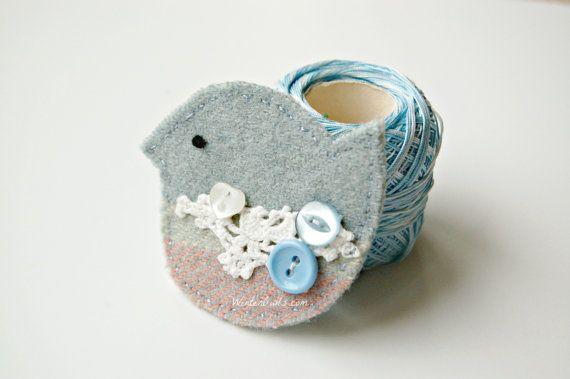 This cute brooch makes a sweet gift  for her. Blue Bird Brooch  Eco Friendly  Textile Jewelry by WinterOwls