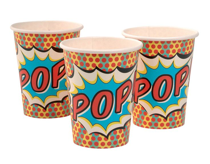 A pack of stylish Pop Art spotty paper cups with the word Pop in a splash on the side. Great for lots of special occasions from an adults 30th birthday party to a kids superhero themed party. Pack of