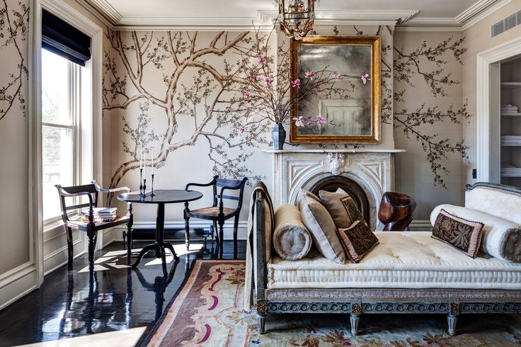 Hand-painted silk wallpaper from Fromental. Photo: Bruce Buck for The New York Times
