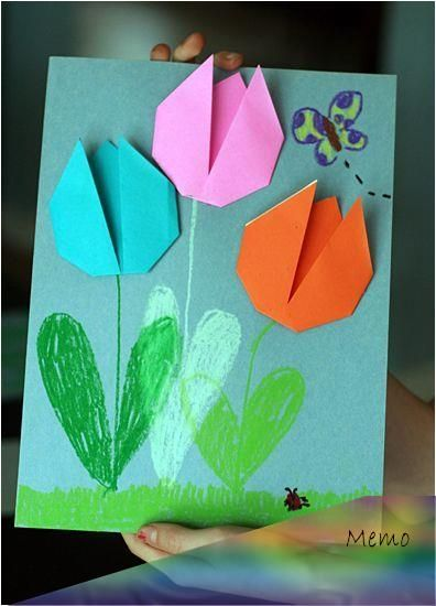 artprojects cards cute easy origami tulips origami