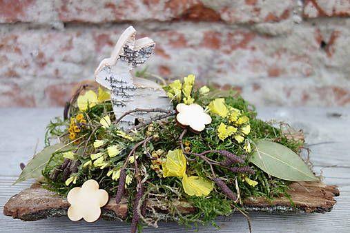 Jarná prírodná  dekorácia na stôl