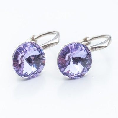 Swarovski Rivoli Earrings 8mm Violet  Dimensions: length: 1,7cm stone size: 8mm Weight ~ 1,85g ( 1 pair ) Metal : sterling silver ( AG-925) Stones: Swarovski Elements 1122 SS39 Colour: Violet 1 package = 1 pair