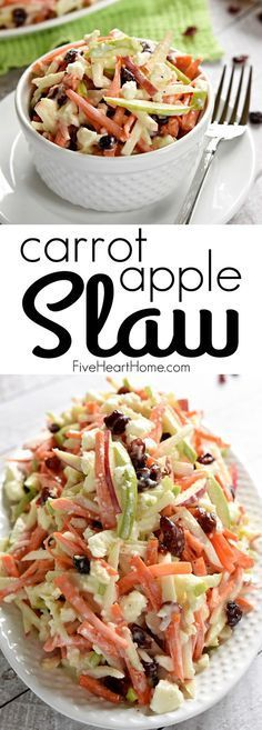 Carrot Apple Slaw ~ with crunchy carrots, sweet and tart apples, dried cranberries, salty feta cheese, and a creamy dressing, this salad is a refreshingly sweet and savory side dish for summer!   FiveHeartHome.com