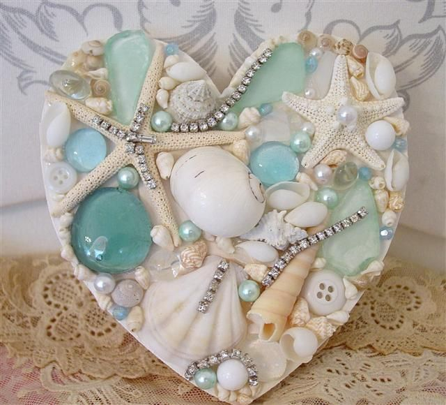 beautiful seashells and seaglasses heart                                                                                                                                                      More