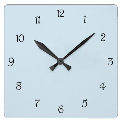 Black Script Numbers On Pale Blue Wall Clock - blue gifts style giftidea diy cyo