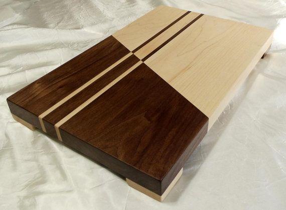 Érable contrasté et planche à découper bois noyer w/pieds