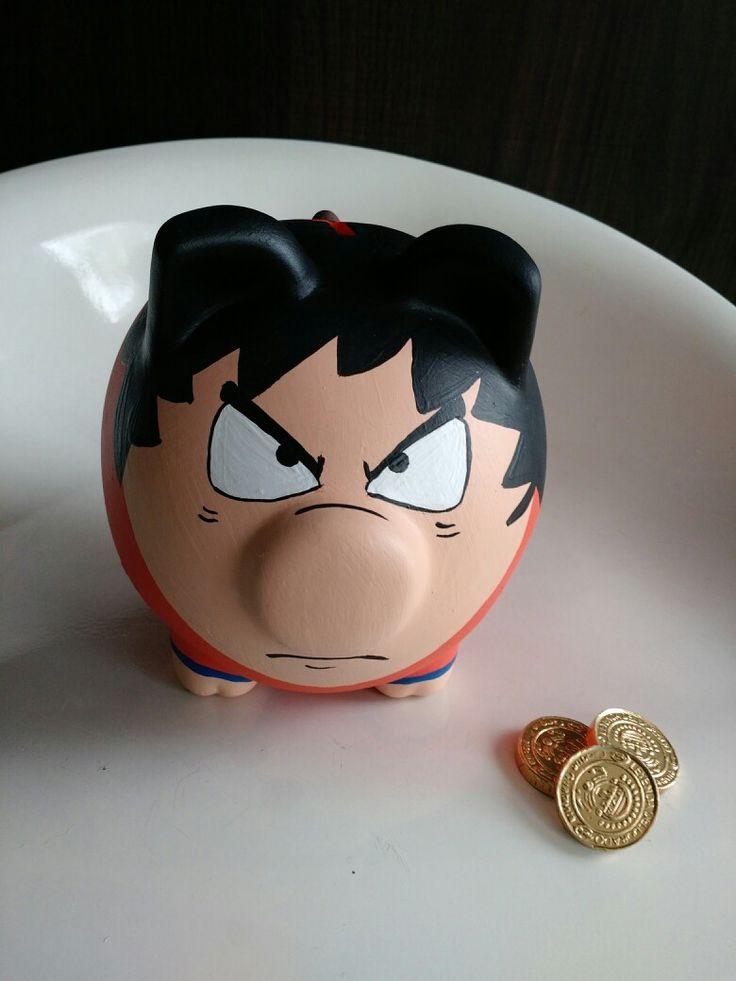 Porky alcancía pintada Goku @porkysialcancias