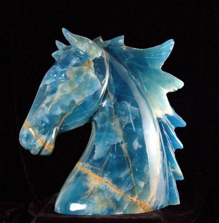 Blue Calcite Horse Carving