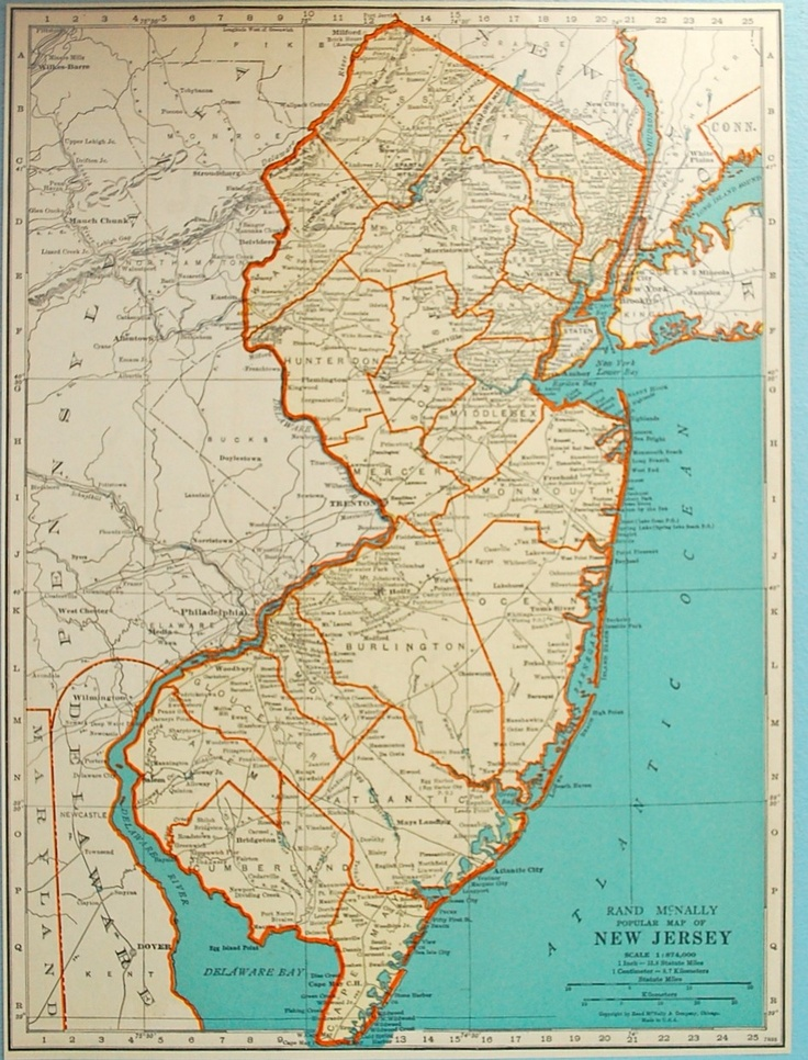 1937 vintage map of New Jersey 108