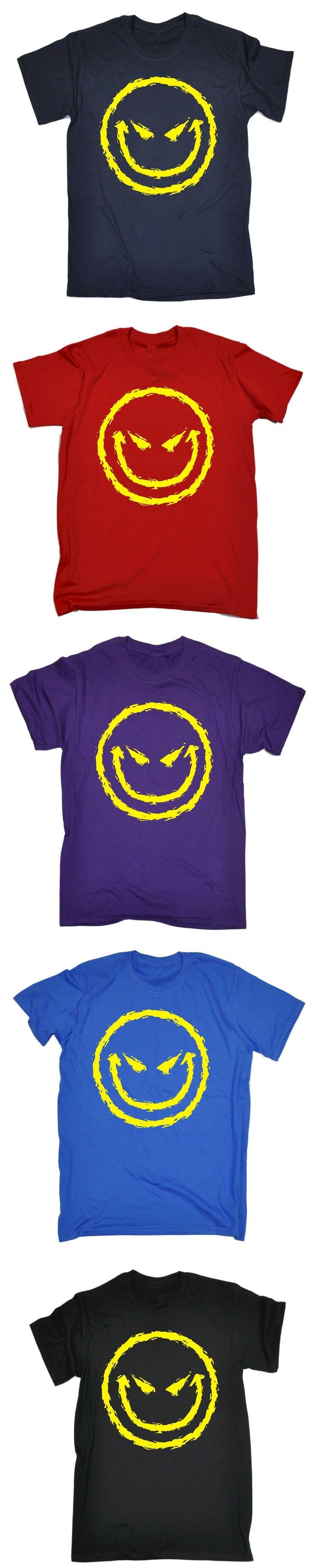 Evil Smiley Face T-SHIRT Cool Dj Attitude Rave Bad Demonic Funny Gift birthday Normal Short Sleeve Cotton T Shirts