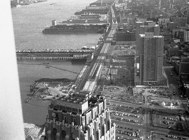 Lower West Side, abandoned West Side Highway, northern end of Battery Park City landfill from the World Trade Center 58th floor. 1975. New York by wavz13, via Flickr
