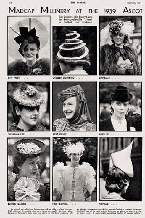madcap millinery at the 1939 ascot (via www.rachealgibson.co.uk)