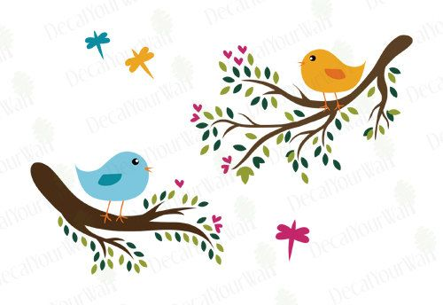 Large Tree Branches with Cute Birds Wall Decals Children's Baby Nursery Kids Room Removable Vinyl Wall Art Stickers Home Decor. $34.95, via Etsy.