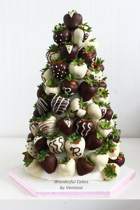 For a Wedding; Cake, Chocolate Strawberries & Mini Cupcakes - by vanessa1982 @ CakesDecor.com - cake decorating website