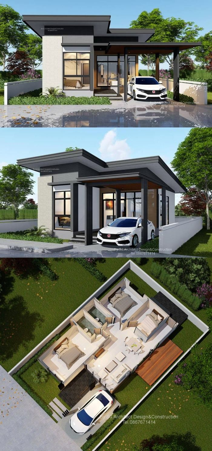 An Affordable And Compact Three Bedroom Bungalow On A Low Cost Modern Bungalow House Design Bungalow House Design Minimal House Design