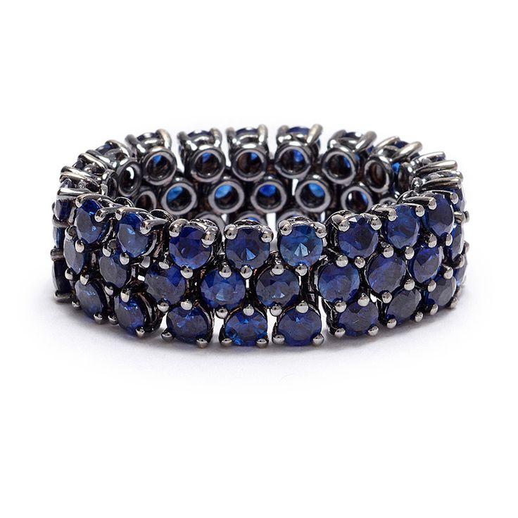Rachael Sarc Blue Sapphire Flexible Link Ring - Greenwich Jewelers - http://www.greenwichjewelers.com