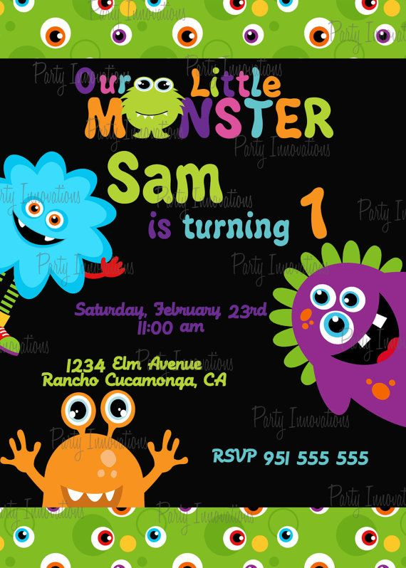 Printable Monsters Birthday Party Invitation By