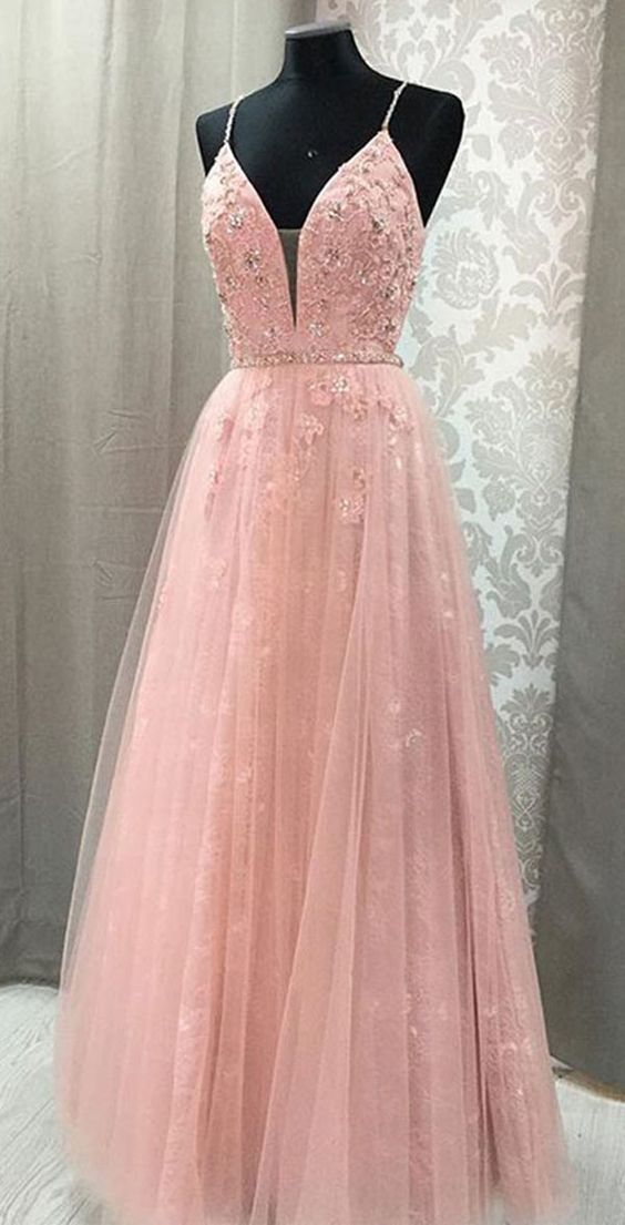 Awesome Pink Prom Dress,Tulle Prom Gown,Appliques Prom Dress,lace Prom Gown