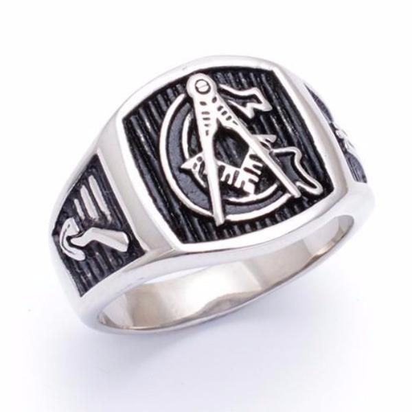 Silver Tone Freemason Ring