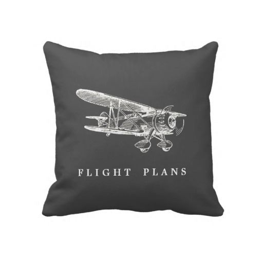 Vintage Airplane, Flight Plans Throw Pillows (Interior design, home decor, fun, creative, ideas, inspiration, amazing, different, interesting, style, two side, map, plane, drawing, route, retro, old, antique)
