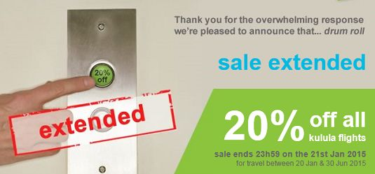 Kulula One Day Sale - Save up to 20%! Flight Specials 2015 - SouthAfrica.TO