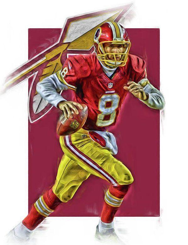 Kirk Cousins Print featuring the mixed media Kirk Cousins Washington Redskins Oil Art by Joe Hamilton