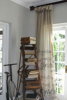 "Living with books, unique ways to display & store books. ""I'd put a paragraph from fave book on the curtains. -Stacy V"""