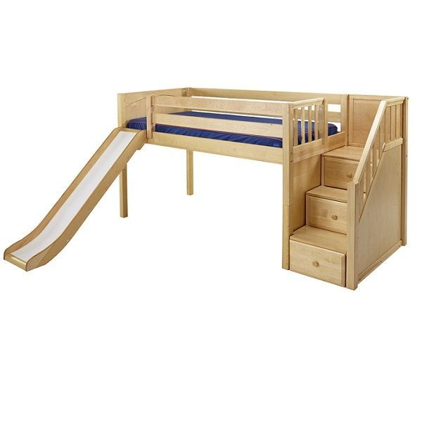 Low Loft Bed Hardwood Low Loft Bed With Stairs Slide Available In Three Finishes Bunk Beds Low Loft Beds Bunk Beds With Stairs