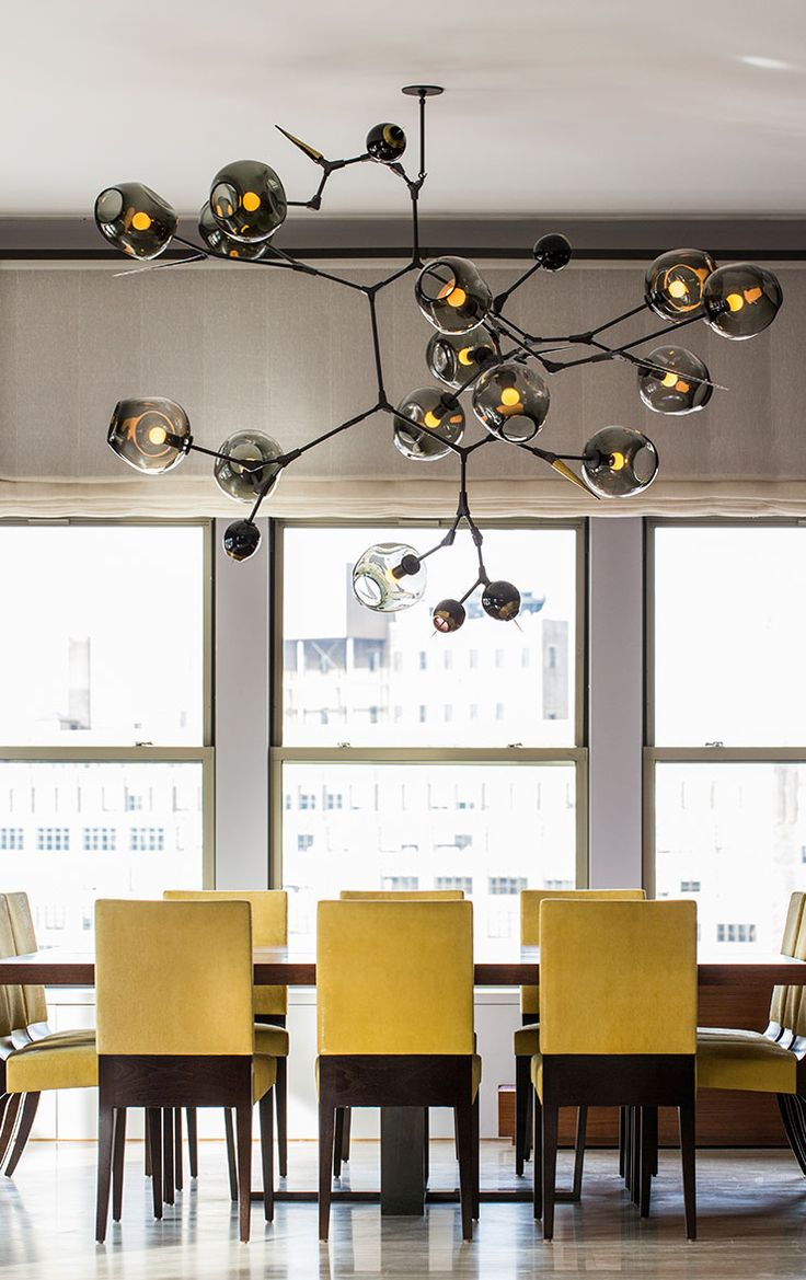 COLOR OF THE MONTH YELLOW Yellow Dining ChairsBubble ChandelierBlack ChandelierBeautiful RoomsIndustrial