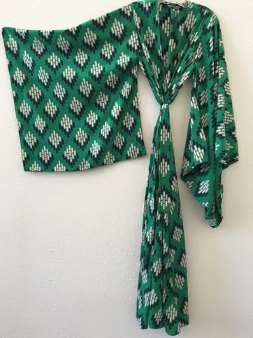 Kimono Green Geo Blossom Handmade by jennafergrace on Etsy