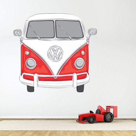 Klassieke VW Bus afgedrukt sticker van de door WallumsWallDecals