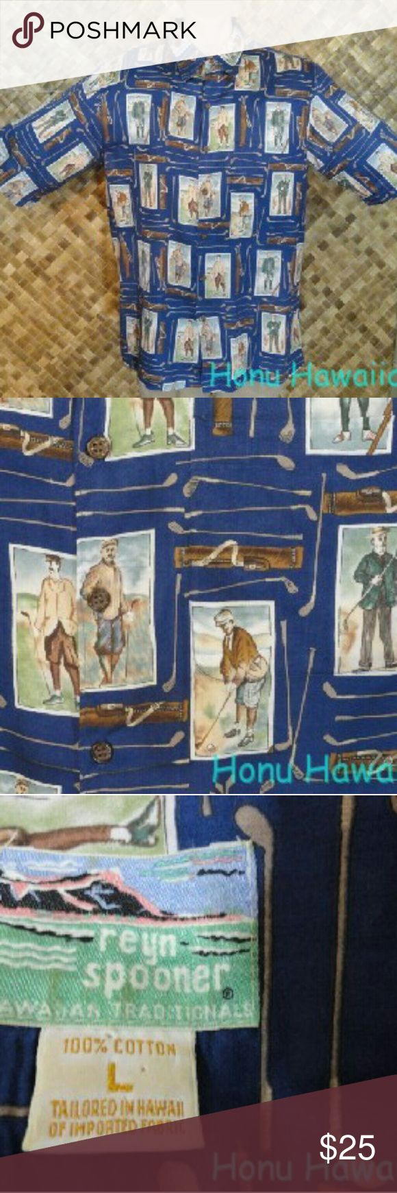 """REYN SPOONER mens HAWAIIAN GOLFERS Shirt - Large AUTHENTIC HAWAIIAN - This listing is for a REYN SPOONER men's Hawaiian shirt. Made of a 100% Egyptian cotton fabric in a Hawaiian golfers block print. Shirt is button front with 7 button closures, 1 chest pocket, and short sleeves. This shirt is PRE-OWNED and in EXCELLENT wearable condition. There are no issues, there are no holes, rips, tears in the fabric, and no fading.   Size LARGE. Measurements: Length 28.5"""", Chest 48"""", Waist 46"""", Hip…"""