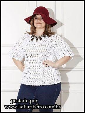 Katia Ribeiro Moda & Decoração Handmade: Blusa em crochê de grampo plus size