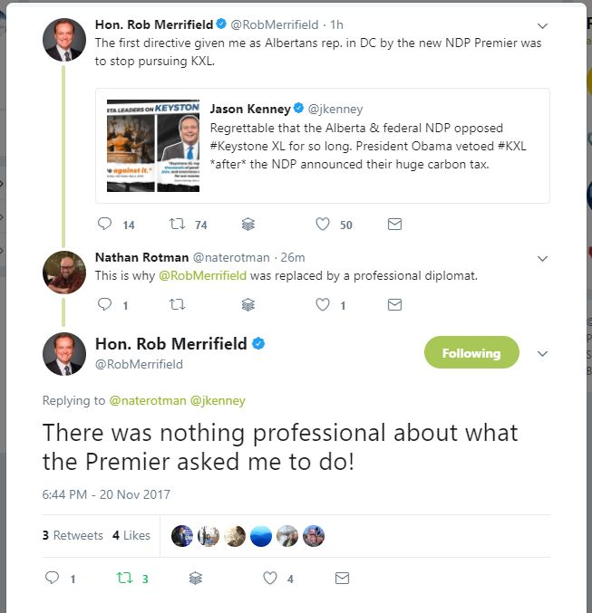 """Former Minister Diplomat and Canadian Government Envoy to US Congress Hon. Rob Merrifield said """"The first directive given me as Albertans rep. in DC by the new NDP Premier [Rachel Notley] was to stop pursuing KXL.""""  He was later fired from his position. Thankfully now all the hurdles in the US have been crossed the only way it can be stopped now is if our anti-pipeline Premier and Prime Minister stop it.  Let's hope this gets built. #ABLeg #ABPoli"""