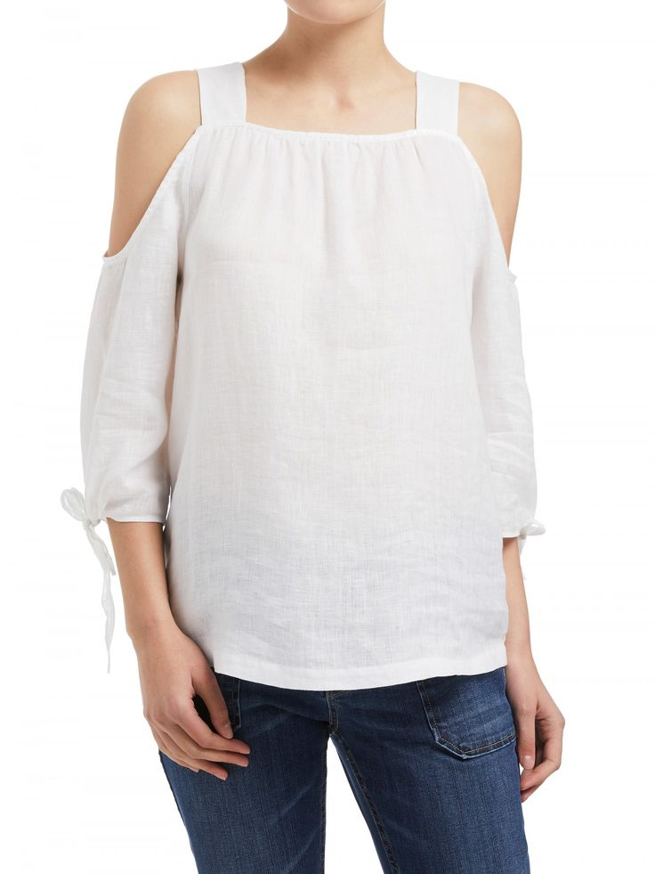 Linen Cut Out Shoulder Top