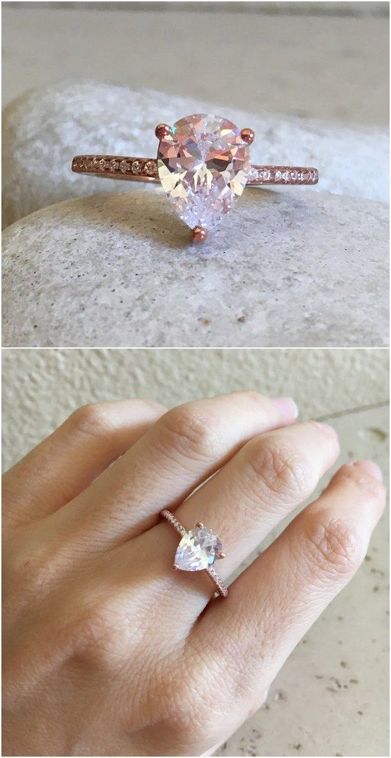 Rose Gold Engagement Ring- Cubic Zirconia Promise Ring- Stone Ring- Promise Ring for Her