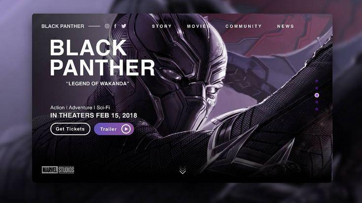 Black Panther Web Design #blackpanthermovie #blackpanther #uidesign #uxdesign #userinterface #landingpage #designer #movieui