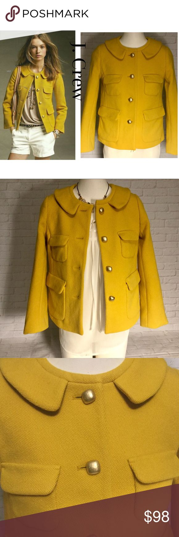 "J. Crew wool blazer jacket yellow women's 0 This is a women's J. Crew wool blazer.  This Is a women's size 0 with no rips, stains or discoloration and comes from a smoke free home.  Armpit to armpit measures approx. 17"" length measures approx. 20"".  Buy with confidence I am a Posh Ambassador, top rated seller, mentor and fast shipper.  Don't forget to bundle and save.  Thank you. J. Crew Jackets & Coats Blazers"