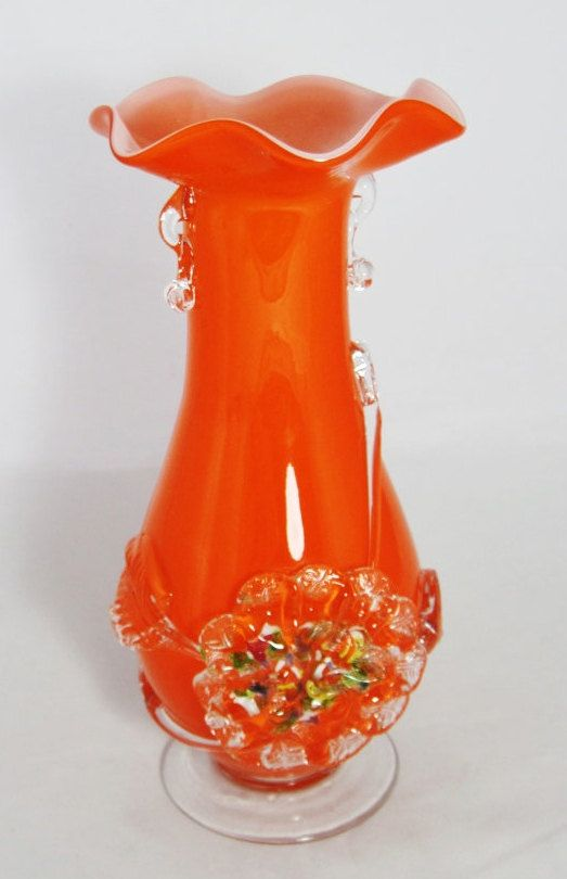 Fenton Confetti Orange Vase Blown Glass Vase 9.5 by CrystalCoaster