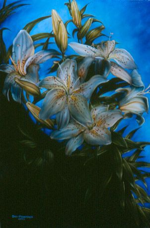 Golden Rayed Lily by Eric Montoya. Oil painting.