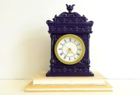 Purple Mantel Clock   Table Clock Plum Eggplant by CurrentClassic, $32.00