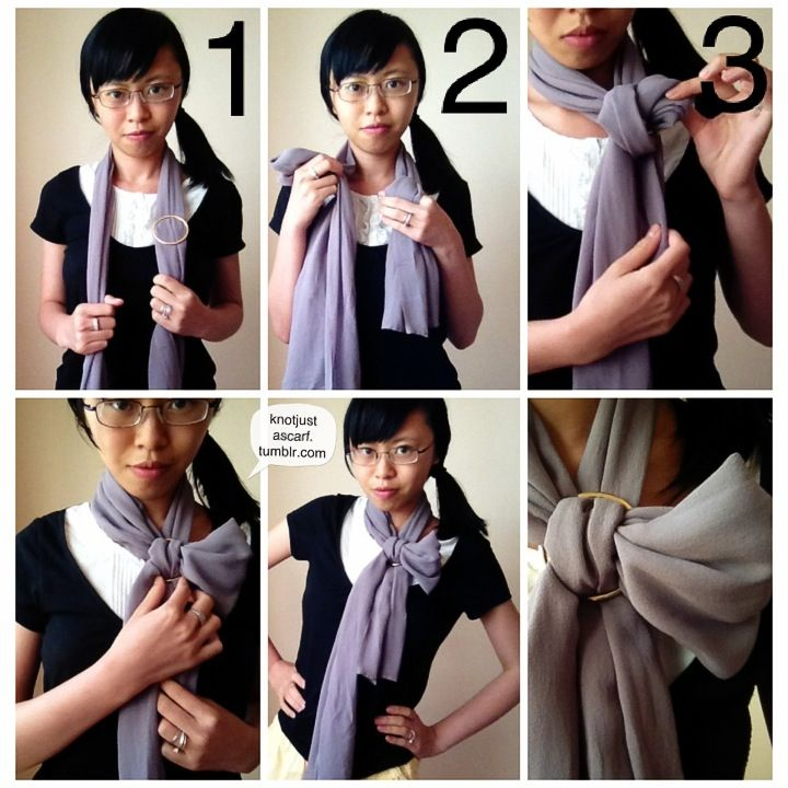 For this you'll need a scarf ring (or a buckle will suffice). On one side have the scarf ring, on the other pinch a loop with your hand and pull that loop through the loosened fabric in the scarf...