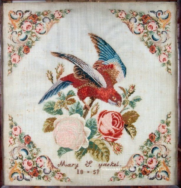 A Lovely 19th Century Sampler Stitched By Mary S Yackel & Dated 1857 ~ SLHC