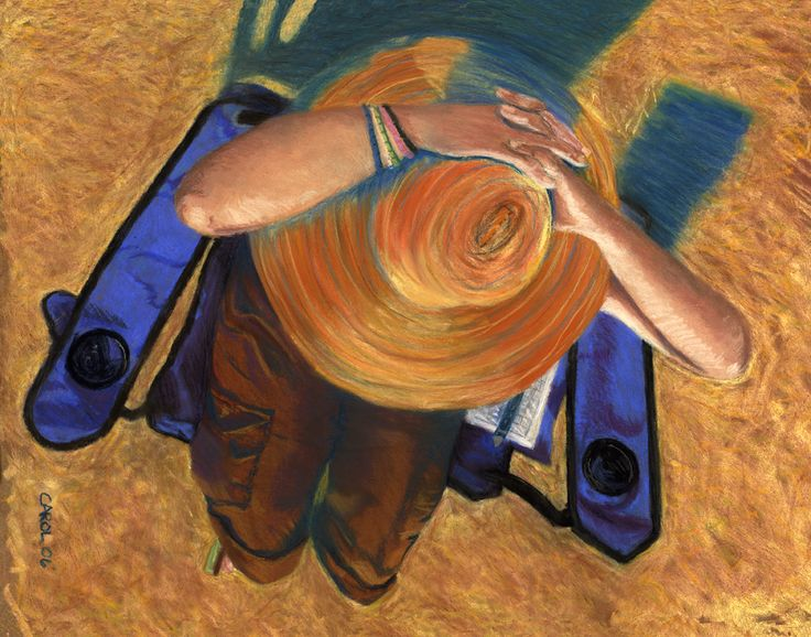 A pastel I did of a friend who was sitting and watching the historical car races. I was above her in the motor home, took some photos and came home and did this painting.
