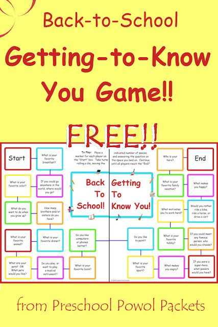 {FREE} Back to School Getting to Know You Game!!   Preschool Powol Packets