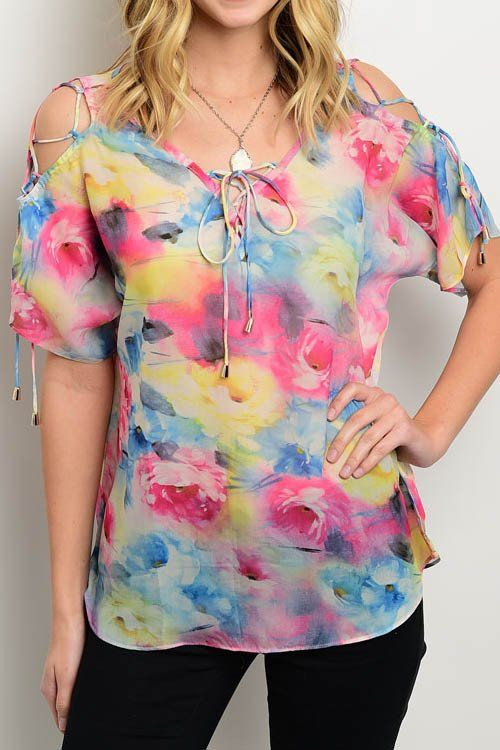 "Semi-sheer floral print cut out, lace up sleeve accent top. - L: 27"" B: 40"" W: 40"" - 100% Polyester - Color Available: Fuchsia/Orange"