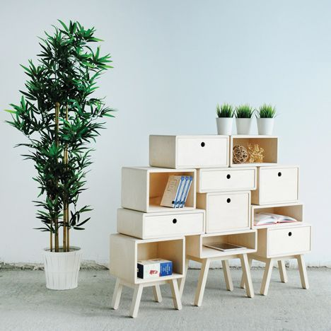 Rianne Koens' stackable drawers function as cabinets, tables and stools