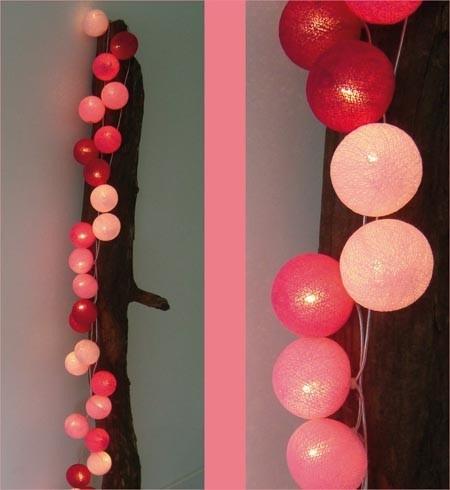 lichtslinger cottonball lights in rosetinten