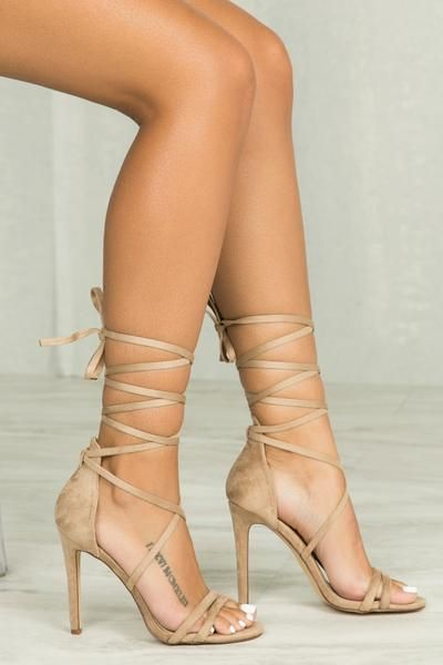 Paris Lace Up Heel (Nude)