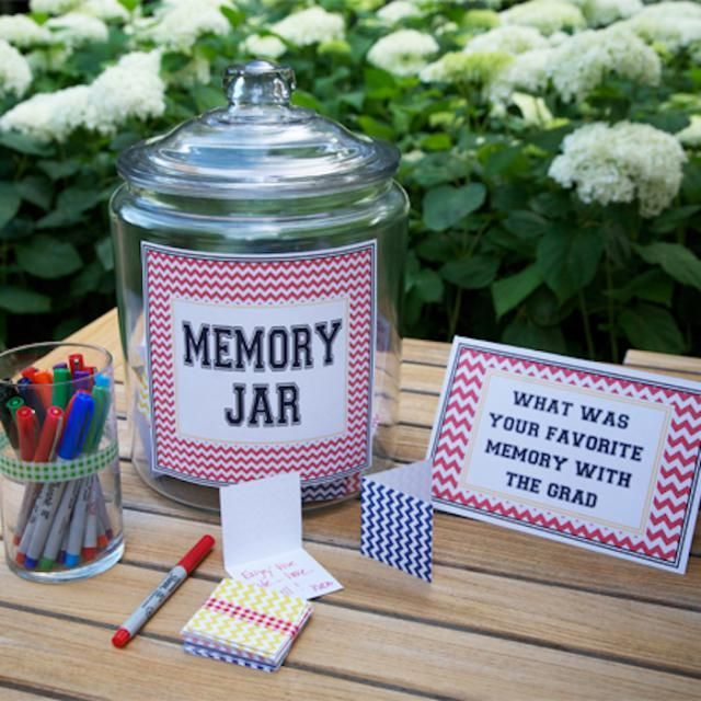 Entertaining & party ideas - Create a memory jar for the guest of honor.  Graduation Party on a Budget: Add Sentimental Touches